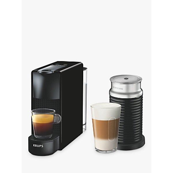 10. Nespresso Essenza Mini Coffee Machine with Aeroccino by KRUPS, Black: £126, John Lewis