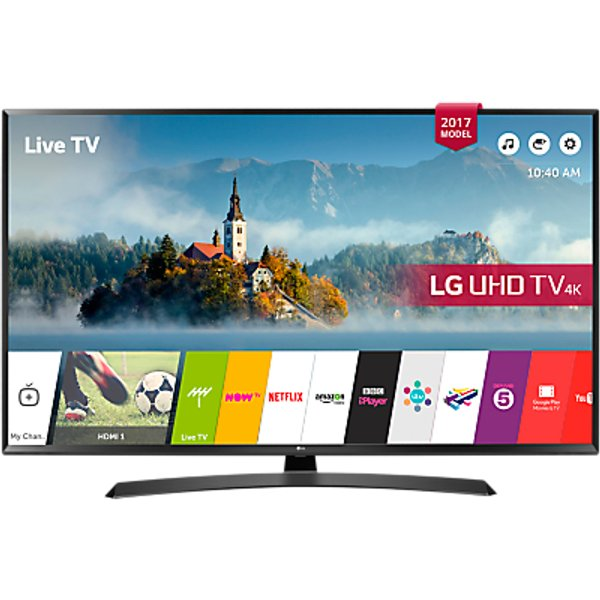 58. LG 43UJ635V LED HDR 4K Ultra HD Smart TV, 43 with Freeview Play & Crescent Stand, Black: £449, John Lewis
