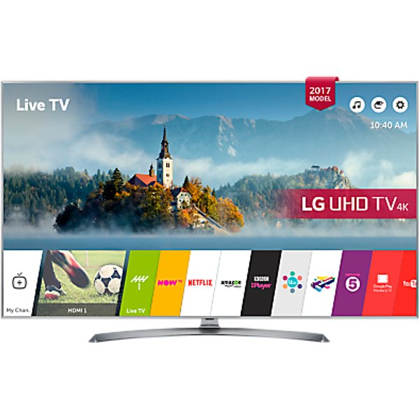 62. LG 43UJ750V LED HDR 4K Ultra HD Smart TV, 43 With Freeview Play & Crescent Stand, Silver: £699, John Lewis