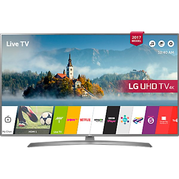 60. LG 43UJ670V LED HDR 4K Ultra HD Smart TV, 43 with Freeview Play & Crescent Stand, Grey: £499, John Lewis