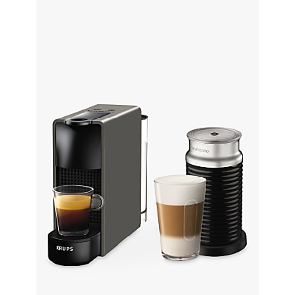 7. Nespresso Essenza Mini Intense Coffee Machine by KRUPS with Aeroccino Milk Frother, Grey: £99.99, John Lewis