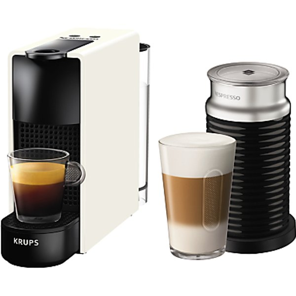6. Nespresso Essenza Mini Intense Coffee Machine by KRUPS with Aeroccino Milk Frother, White/Black: £139.99, John Lewis
