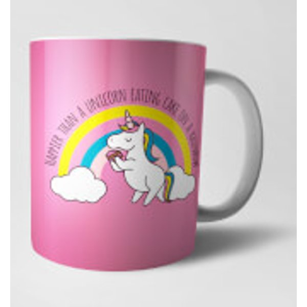 13. Happier Than A Unicorn Eating Cake Mug: £9.99, Zavvi