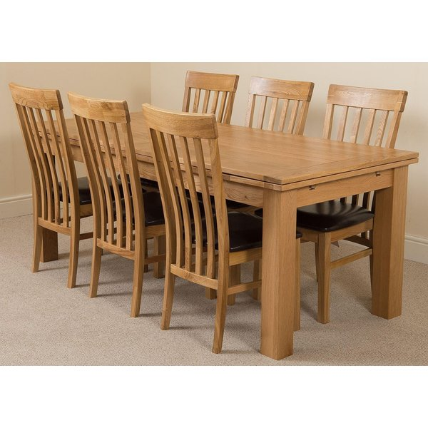 33. Richmond Oak 200 - 280 cm Extending Dining Table & 6 Harvard Solid Oak Leather Chairs: £774.17, Oak Furniture King