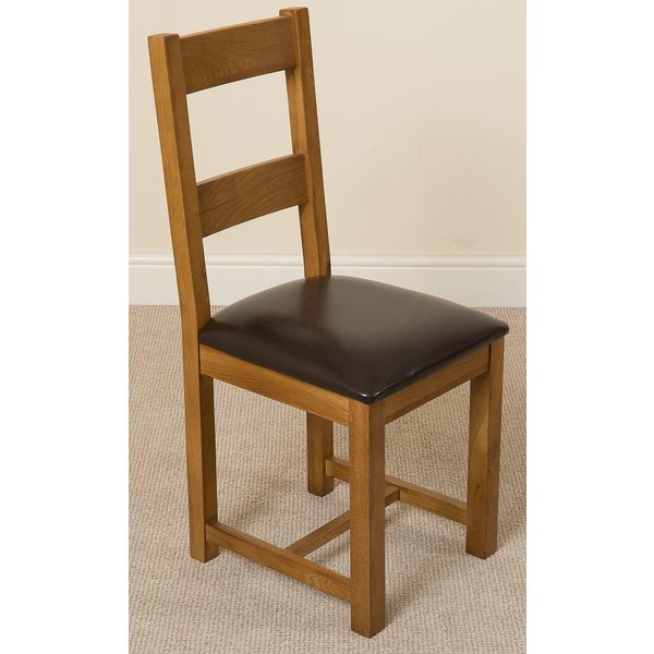 61. Lincoln Rustic Oak & Brown Leather Braced Dining Chair: £53.33, Oak Furniture King