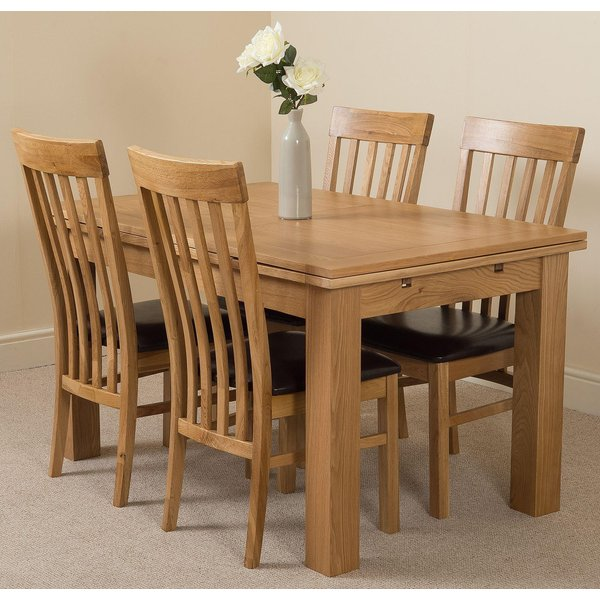 35. Richmond Oak 140 - 220cm Extending Dining Table & 4 Harvard Solid Oak Leather Chairs: £599.17, Oak Furniture King