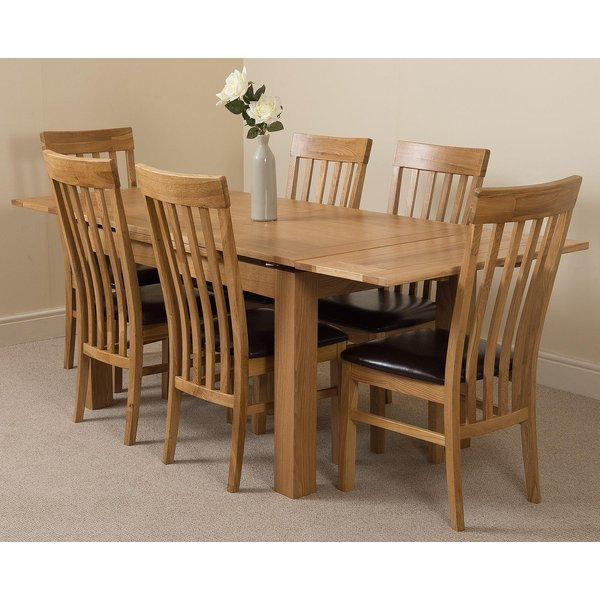 34. Richmond Oak 140 - 220cm Extending Dining Table & 6 Harvard Solid Oak Leather Chairs: £732.5, Oak Furniture King