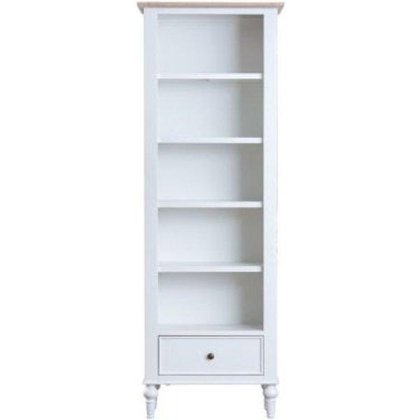 23. Ebenezer Oak Large Narrow 1 Drawer 5 Shelf Bookcase: £280, QD stores