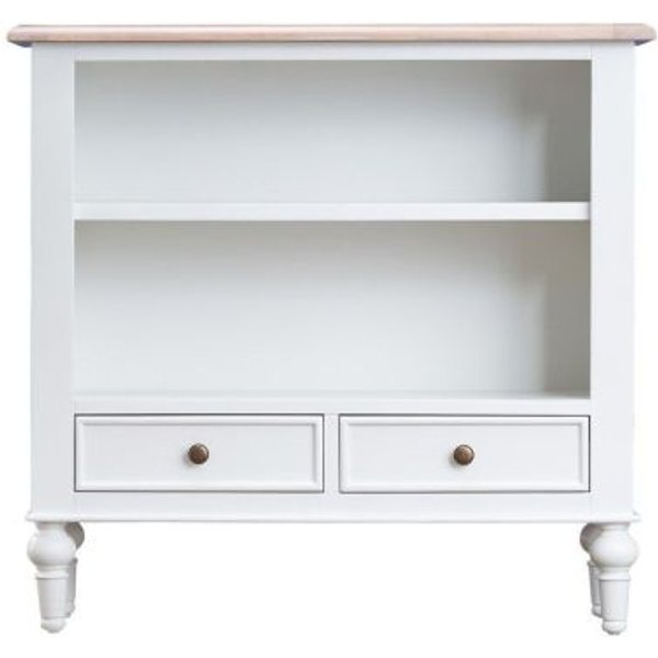 24. Ebenezer Oak Small Wide 2 Drawer 2 Shelf Bookcase: £200, QD stores