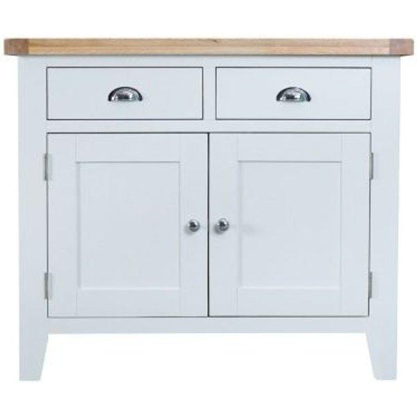 12. Lighthouse Oak Top 2 Drawer 2 Door Sideboard - White: £300, QD stores