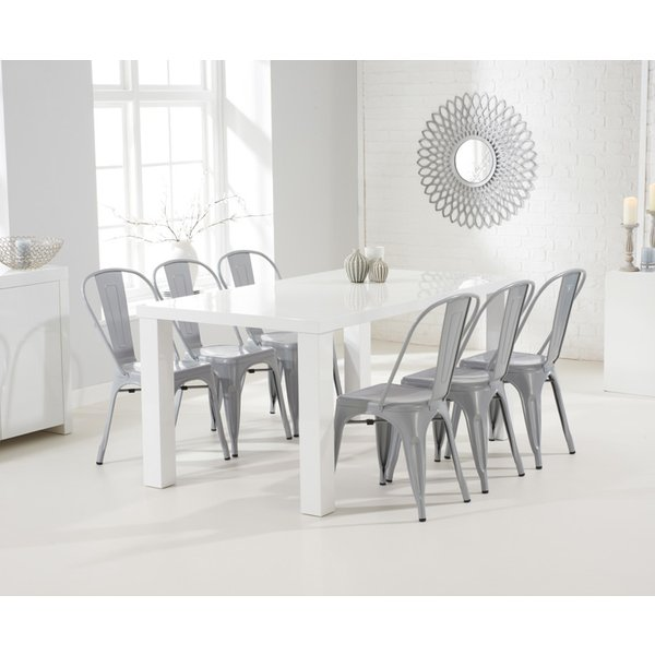 5. Atlanta 160cm White High Gloss Dining Table with Tolix Industrial Style Dining Chairs: £429, Great Furniture Trading Company