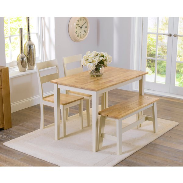 22. Chiltern 115cm Oak and Cream Dining Table with Bench and Chairs: £319, Great Furniture Trading Company