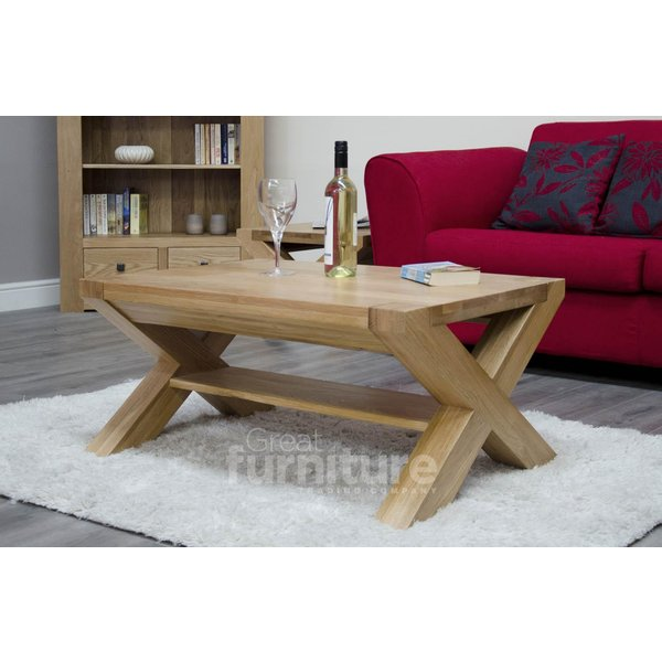 13. Trend Cross Leg Solid Oak 90cm Coffee Table: £359, Great Furniture Trading Company