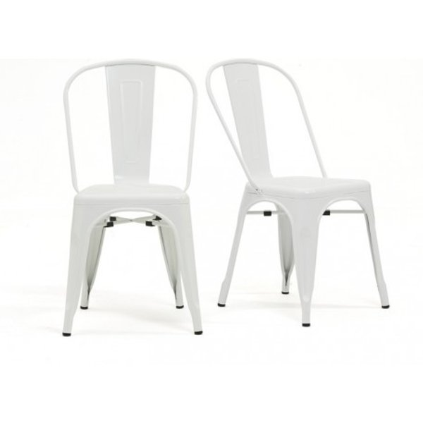35. Tolix Industrial Style White Dining Chairs (Pair): £120, Great Furniture Trading Company