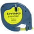 Dymo LetraTAG 91202 Yellow Plastic Tape - 12mm x 4m