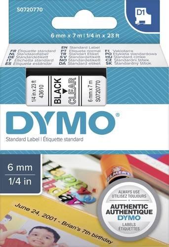 DYMO Schriftband D1 43610 Bandfarbe: Transparent Schriftfarbe:Schwarz 6mm 7m