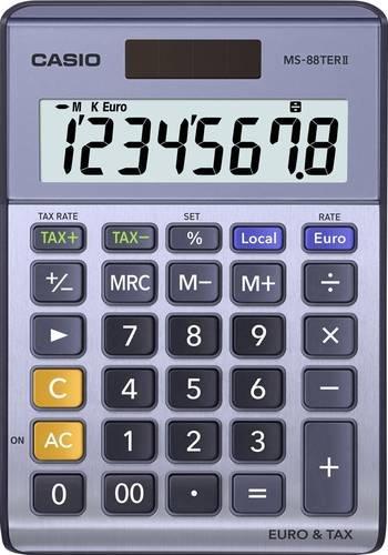 Casio MS-88TERII Tischrechner Lila, Grau Display (Stellen): 8solarbetrieben, batteriebetrieben (B x