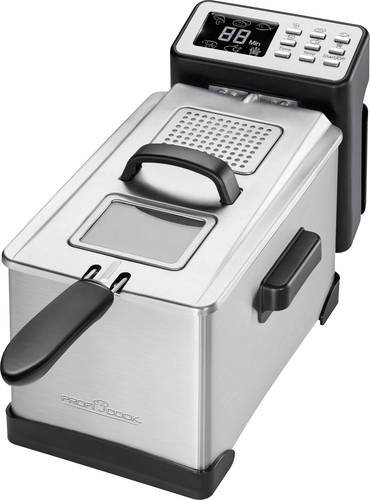 Profi Cook PC-FR 1087 Fritteuse 2000W mit Display Edelstahl, Schwarz
