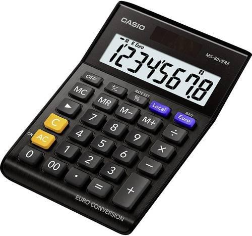 Casio MS-80VERII Tischrechner Schwarz Display (Stellen): 8solarbetrieben, batteriebetrieben (B x H x