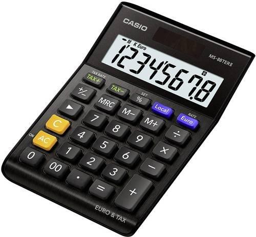 Casio MS-88TERII Tischrechner Schwarz Display (Stellen): 8solarbetrieben, batteriebetrieben (B x H x
