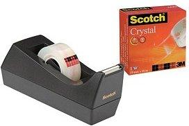 Scotch Tischabroller 83980 schwarz inkl. 1 Rolle Crystal Klebeband, 10,0 m x 19,0 mm (LxB)
