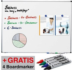 AKTION: Legamaster Whiteboard PREMIUM 200,0 x 100,0 cm spezialbeschichteter Stahl + GRATIS 4 Boardmarker TZ 100 farbsortiert
