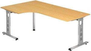 HAMMERBACHER   Gradeo höhenverstellbarer Schreibtisch buche L-Form
