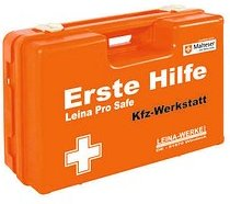 LEINA-WERKE Erste-Hilfe-Kasten Pro Safe KFZ-Werkstatt DIN 13157 + branchenbezogene Zusatzerweiterung orange