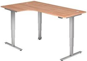 HAMMERBACHER   höhenverstellbarer Schreibtisch nussbaum L-Form
