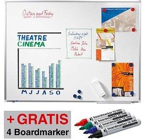 AKTION: Legamaster Whiteboard PREMIUM PLUS 100,0 x 75,0 cm weiß + GRATIS 4 Boardmarker TZ 100 farbsortiert