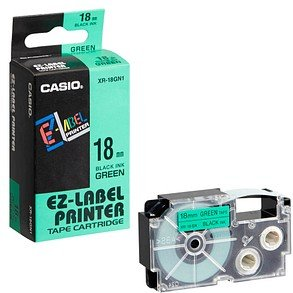 CASIO Beschriftungsband XR-18GN schwarz auf grün 18 mm