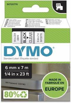 Dymo D1 Schriftband 6 mm x 7 m schwarz auf transparent 43610