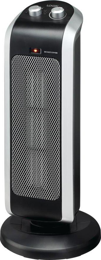 LOGIK L20CTH18 Portable Hot   Cool Ceramic Fan Heater   Black   Silver  Black