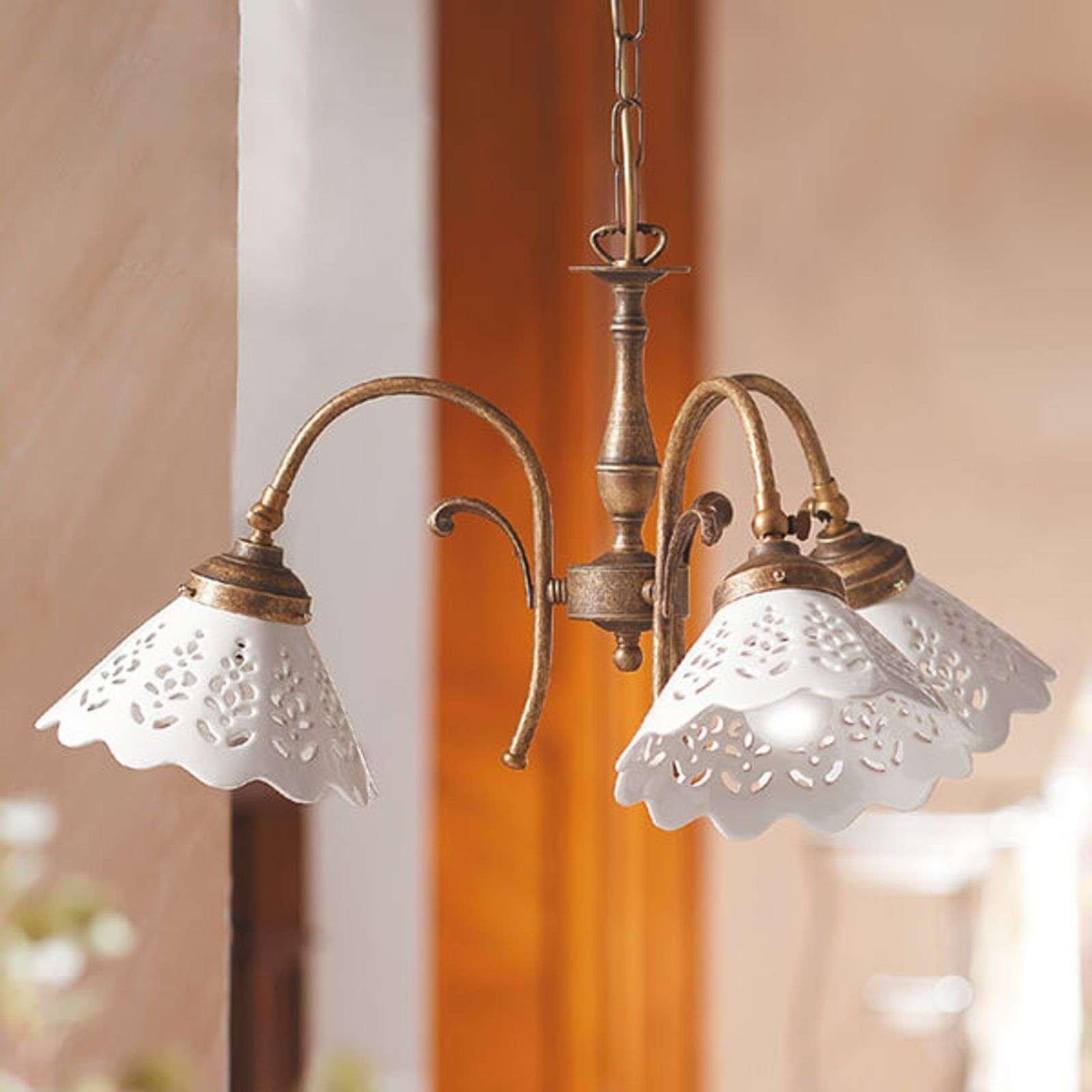 Semino hanging light  ceramic lampshades  3 bulb