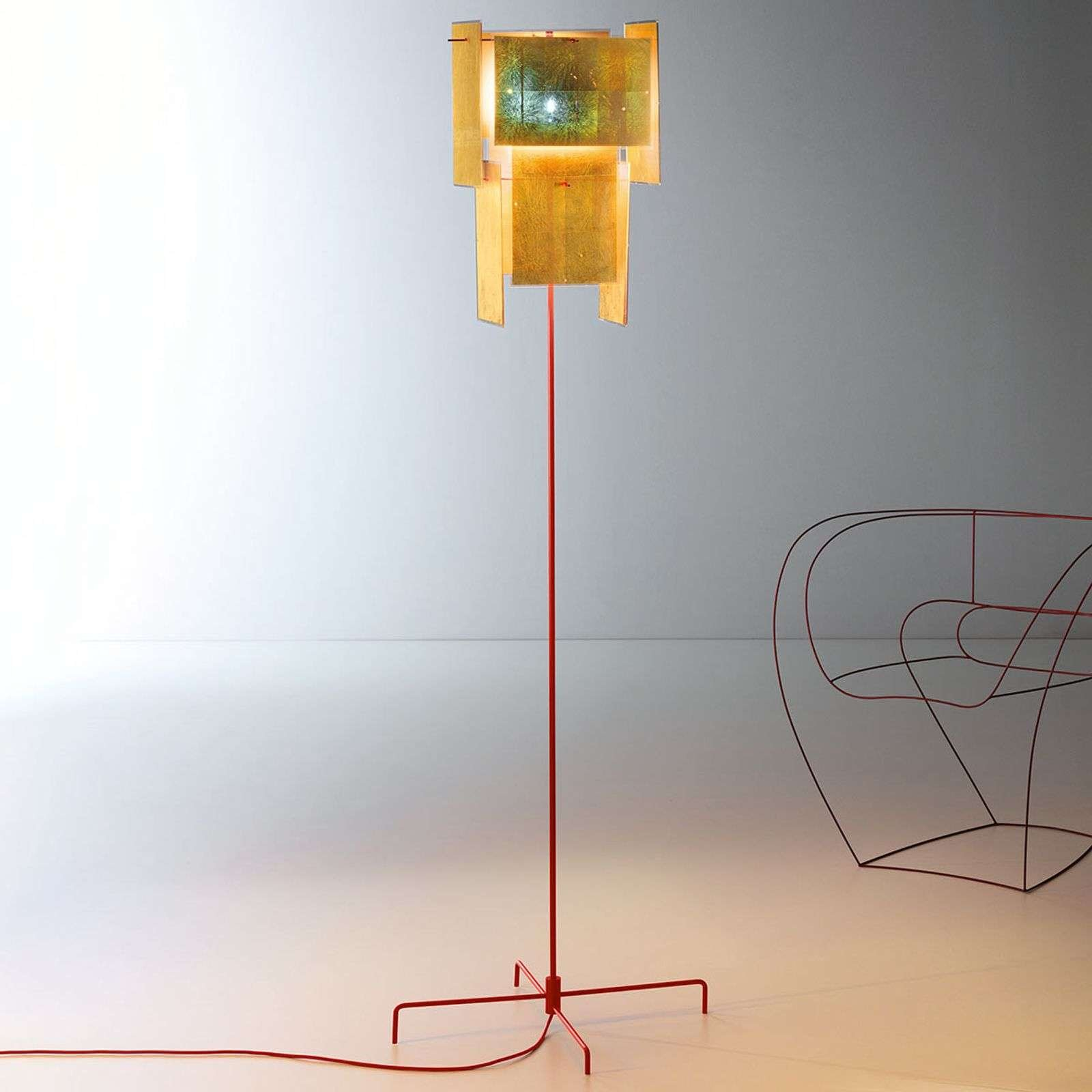 Ingo Maurer 24 Karat Blau floor lamp  red rods