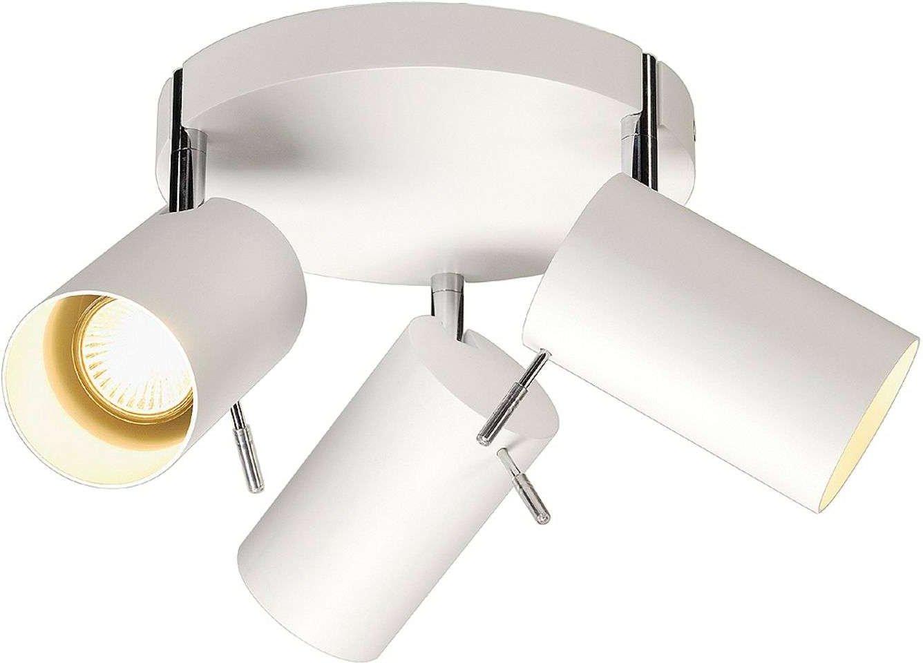 Round Asto Tube Ceiling Spot 3 Lamp White