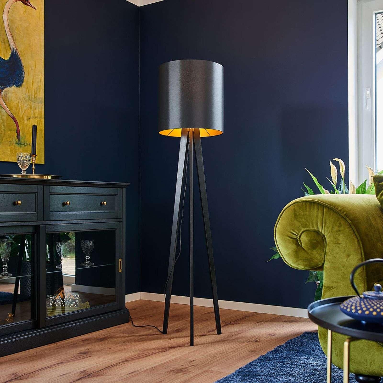 Wooden floor lamp Nida  black gold lampshade