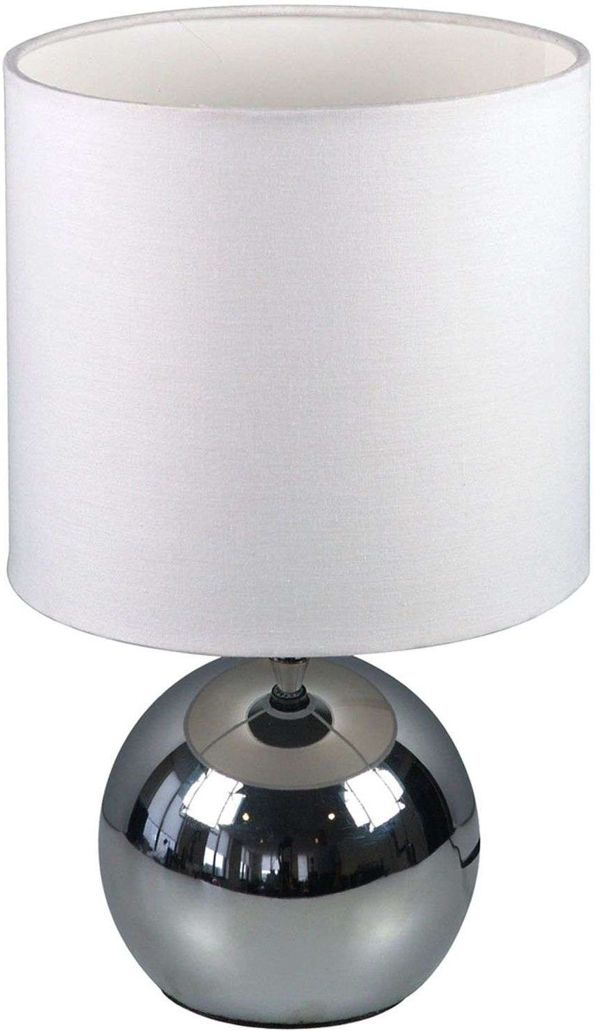 White fabric table lamp Noa with spherical base