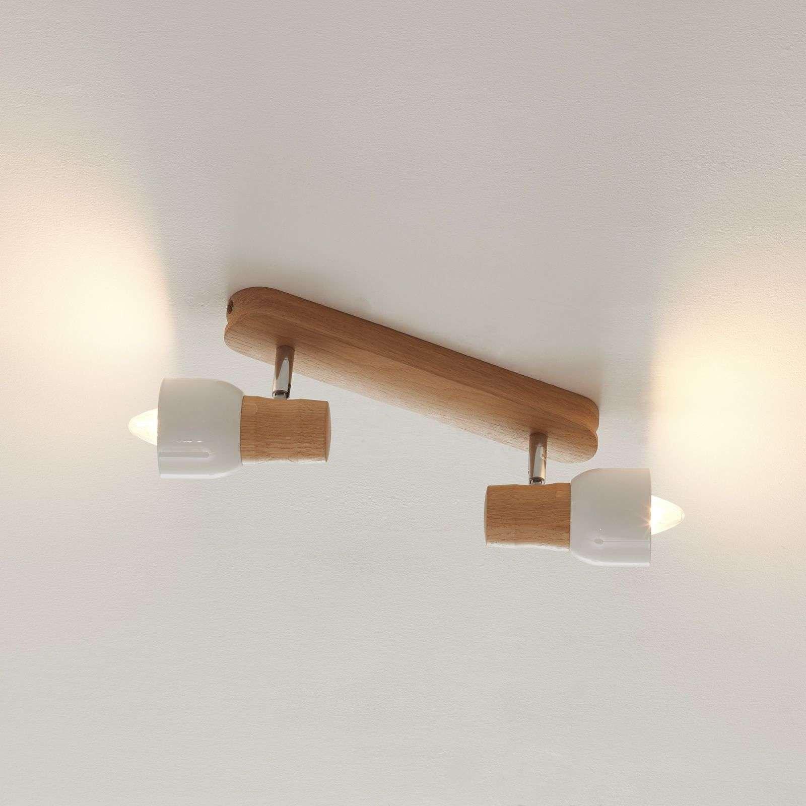 Wooden Svantje ceiling light  two bulb