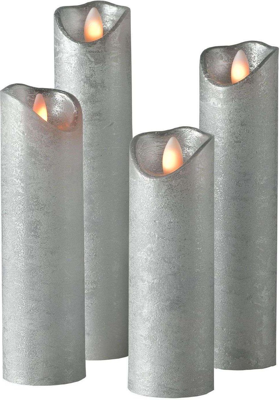 Shine LED candle  set of 4    5 cm silver