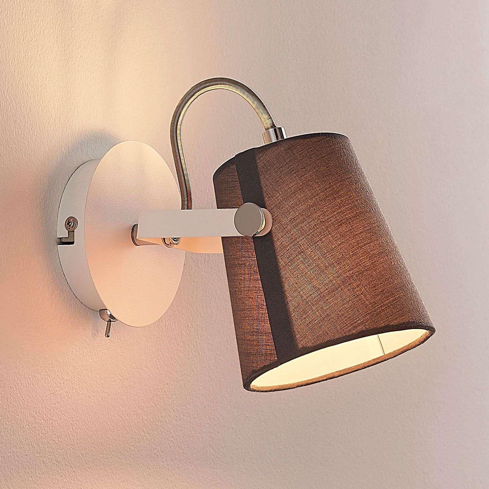 Levi   one bulb fabric spotlight in grey