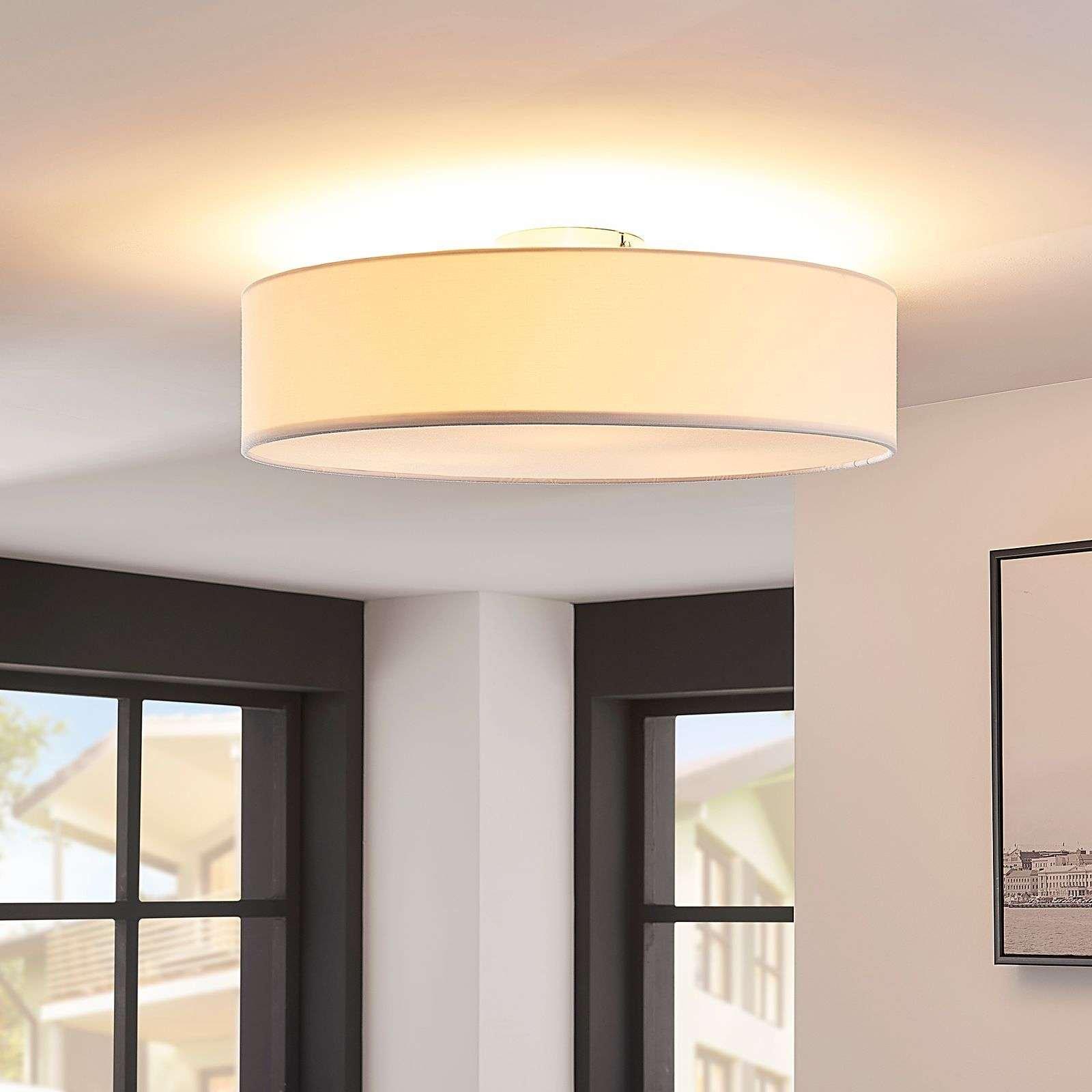 White fabric LED ceiling light Sebatin