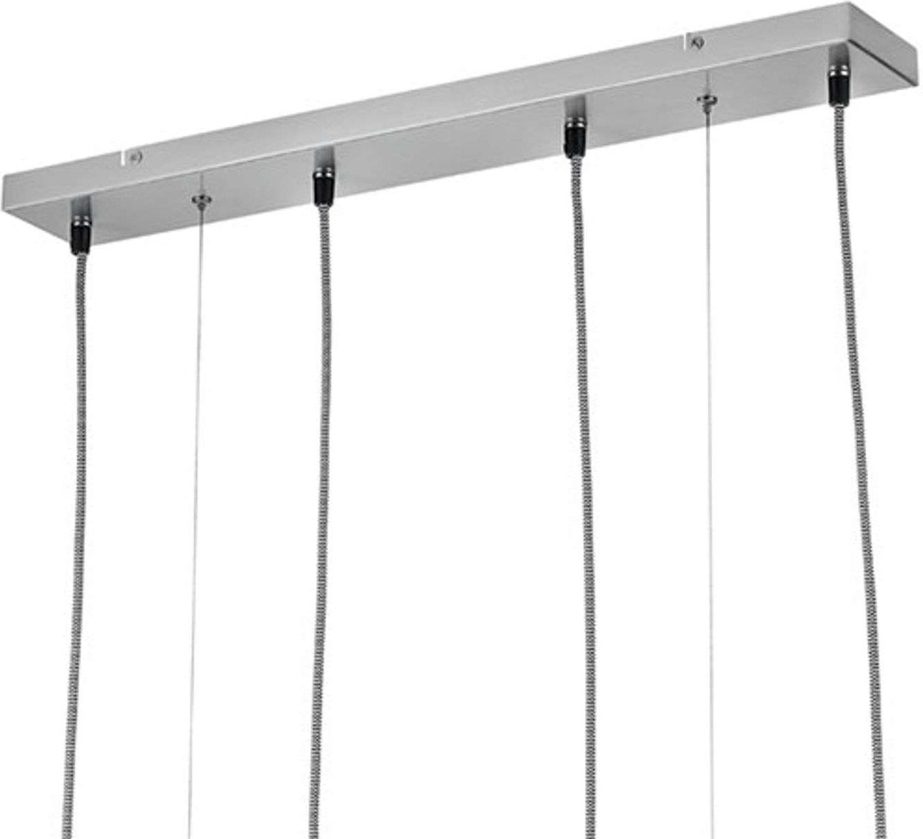 Padme linear pendant light  four fabric lampshades