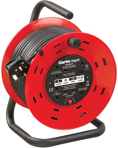 Clarke Clarke CCR25 4 Socket 25m  Cable Reel With Thermal Cut Out  230V