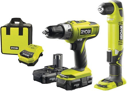 Ryobi One  Ryobi One  18V Combi And Angle Drill With 2x Lithium Batteries And Fast Charger