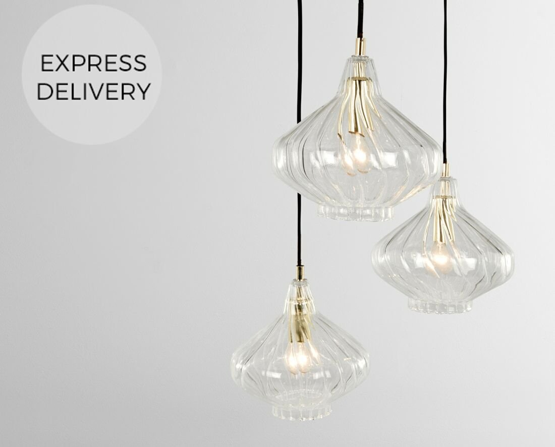 Kaleido Cluster Pendant Light  Clear Glass and Brass