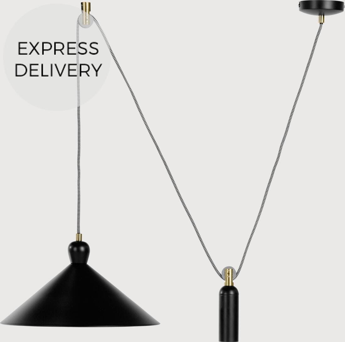 Ogilvy Rise and Fall Pendant  Matt Black and Antique Brass