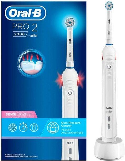 Oral B Elektrische Zahnbürste PRO 2 2000, Aufsteckbürsten: 1 St., Sensi Ultra Thin White
