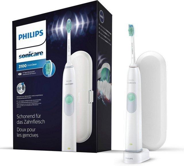 Philips Sonicare Schallzahnbürste HX6221/22, Aufsteckbürsten: 1 St., DailyClean 3100, Ladestation, Reiseetui