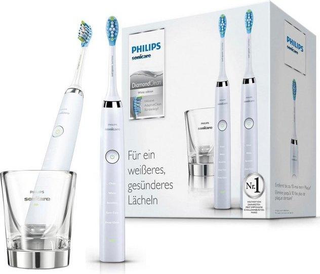 Philips Sonicare Schallzahnbürste HX9327/87 Diamond Clean Neue Generation, Aufsteckbürsten: 2 St., Doppelpack mit Ladeglas